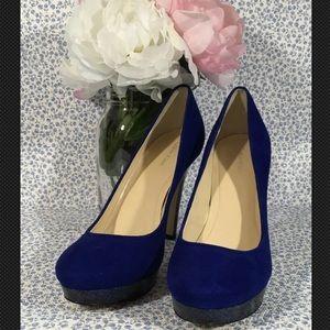 Calvin Klein Kendall Blue Suede Platform Heels